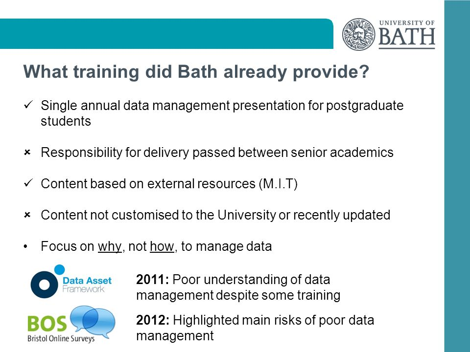 What training did Bath already provide? Single annual data management presentation for postgraduate students Responsibility for delivery passed betwee