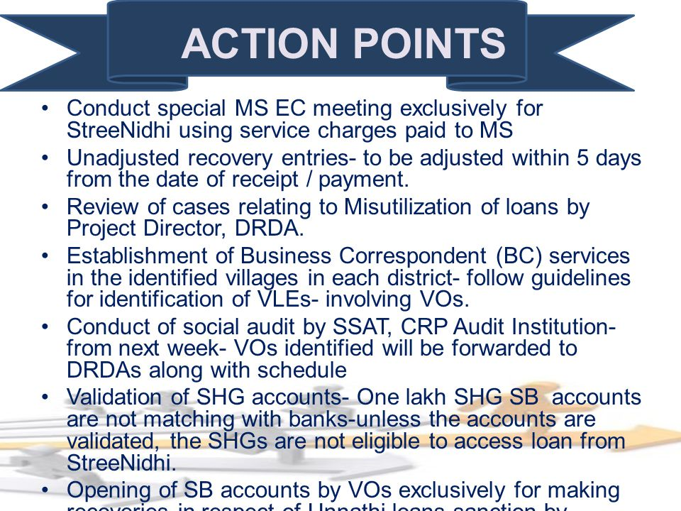 ACTION POINTS Conduct special MS EC meeting exclusively for StreeNidhi using service charges paid to MS Unadjusted recovery entries- to be adjusted wi