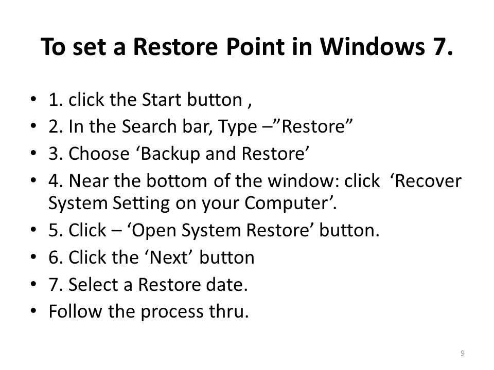 To set a Restore Point in Windows 8 1.Press the Windows logo key + W to open the Settings menu.