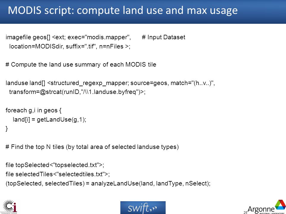 25 MODIS script: compute land use and max usage imagefile geos[] <ext; exec=