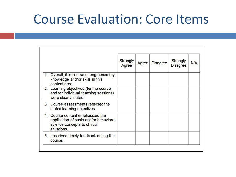 Course Evaluation: Core Items