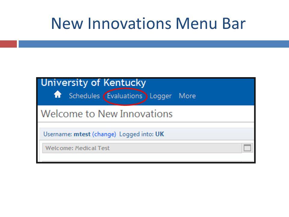 New Innovations Menu Bar