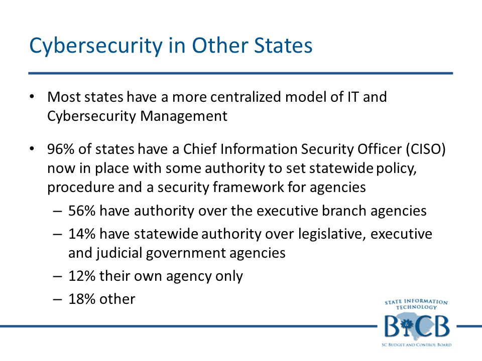 Cybersecurity in Other States Most states have a more centralized model of IT and Cybersecurity Management 96% of states have a Chief Information Secu