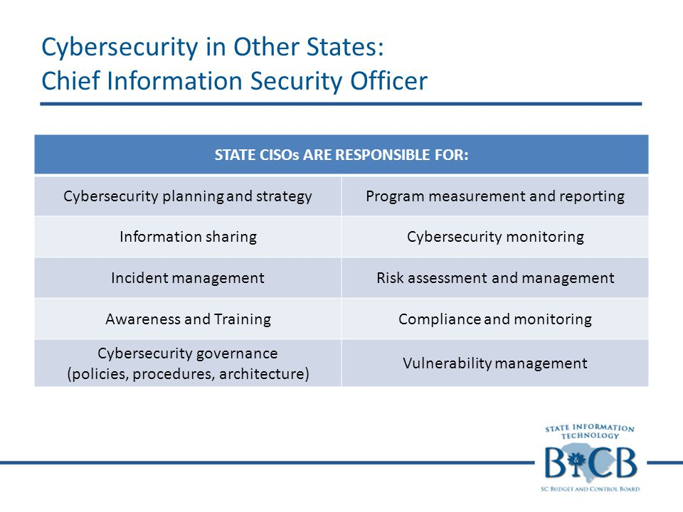 STATE CISOs ARE RESPONSIBLE FOR: Cybersecurity planning and strategyProgram measurement and reporting Information sharingCybersecurity monitoring Incident managementRisk assessment and management Awareness and TrainingCompliance and monitoring Cybersecurity governance (policies, procedures, architecture) Vulnerability management Cybersecurity in Other States: Chief Information Security Officer