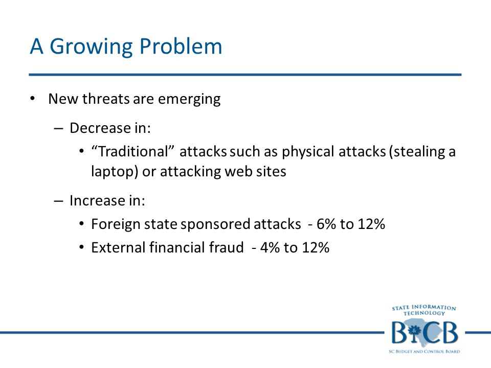 A Growing Problem New threats are emerging – Decrease in: Traditional attacks such as physical attacks (stealing a laptop) or attacking web sites – Increase in: Foreign state sponsored attacks - 6% to 12% External financial fraud - 4% to 12%