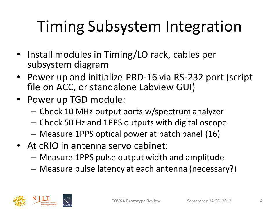 LO Subsystem Integration (1 of 2) Install modules in Timing/LO rack, all cables per subsystem diagram LO1-A synthesizer tests: – Verify basic monitor and control interface functions, using spectrum analyzer.