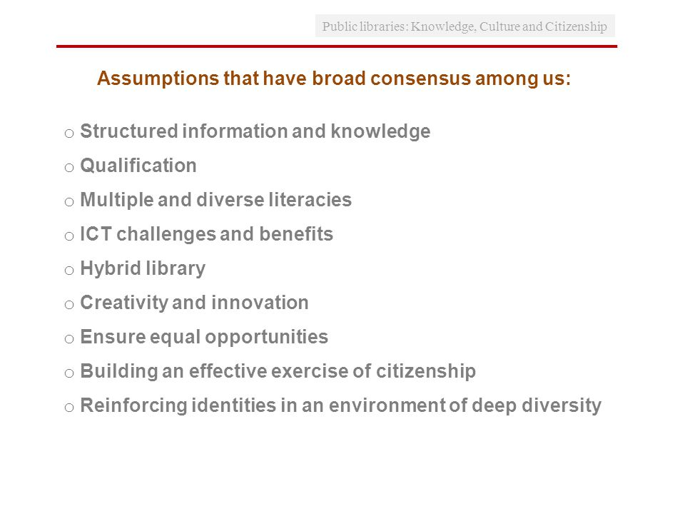 Assumptions that have broad consensus among us: o Structured information and knowledge o Qualification o Multiple and diverse literacies o ICT challenges and benefits o Hybrid library o Creativity and innovation o Ensure equal opportunities o Building an effective exercise of citizenship o Reinforcing identities in an environment of deep diversity Public libraries: Knowledge, Culture and Citizenship