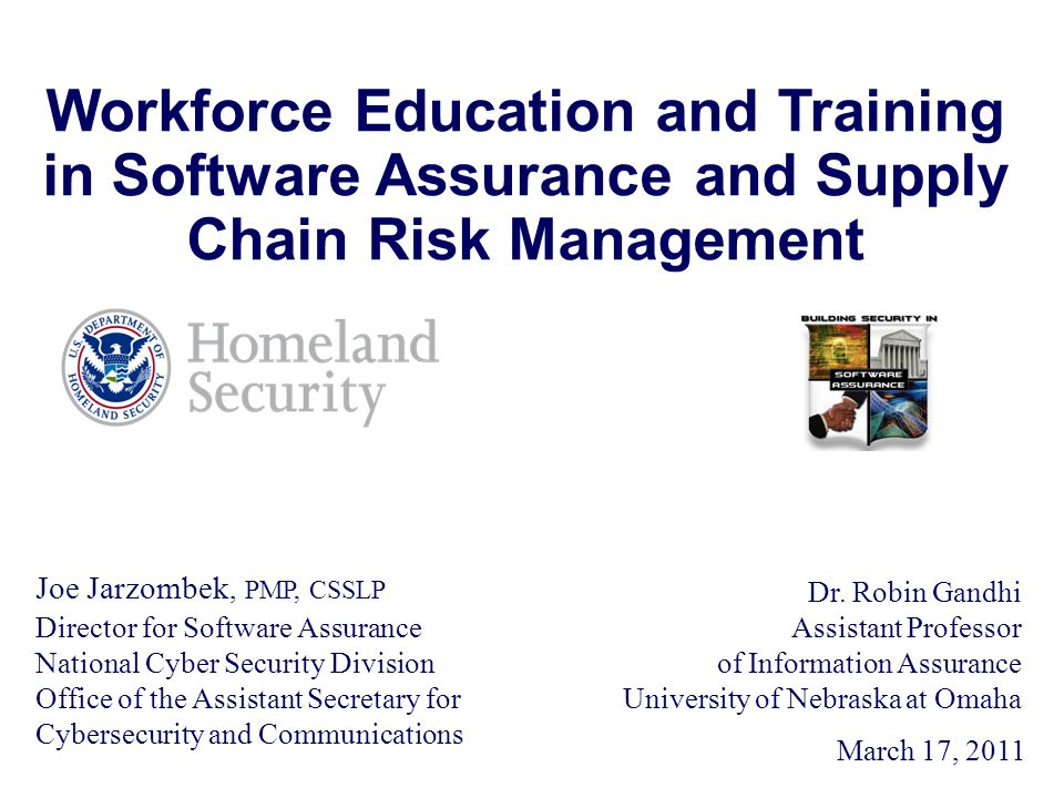 Joe Jarzombek, PMP, CSSLP Director for Software Assurance National Cyber Security Division Office of the Assistant Secretary for Cybersecurity and Communications March 17, 2011 Workforce Education and Training in Software Assurance and Supply Chain Risk Management Dr.
