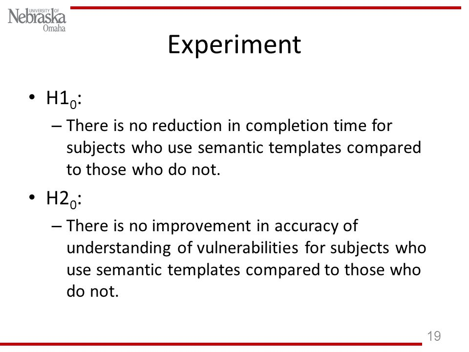 Experiment H1 0 : – There is no reduction in completion time for subjects who use semantic templates compared to those who do not.