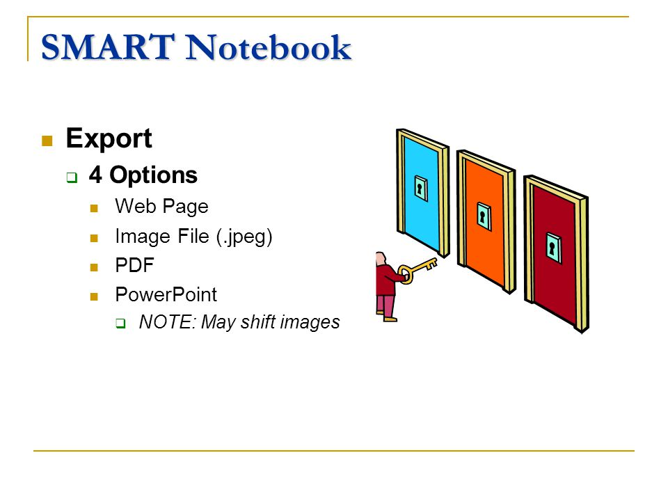 SMART Notebook Export 4 Options Web Page Image File (.jpeg) PDF PowerPoint NOTE: May shift images