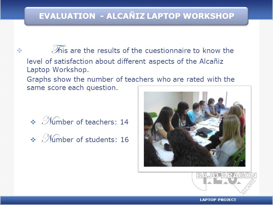 ORGANIZATION EVALUATION LAPTOP PROJECT AVERAGE RATING Teachers5 Students4,75 0 2 4 6 8 10 12 14 12345 Students 0 2 4 6 8 10 12 14 12345N.A.