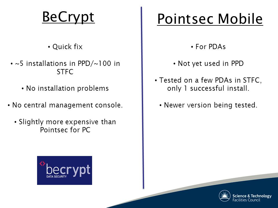 BeCrypt Pointsec Mobile Quick fix ~5 installations in PPD/~100 in STFC No installation problems No central management console.
