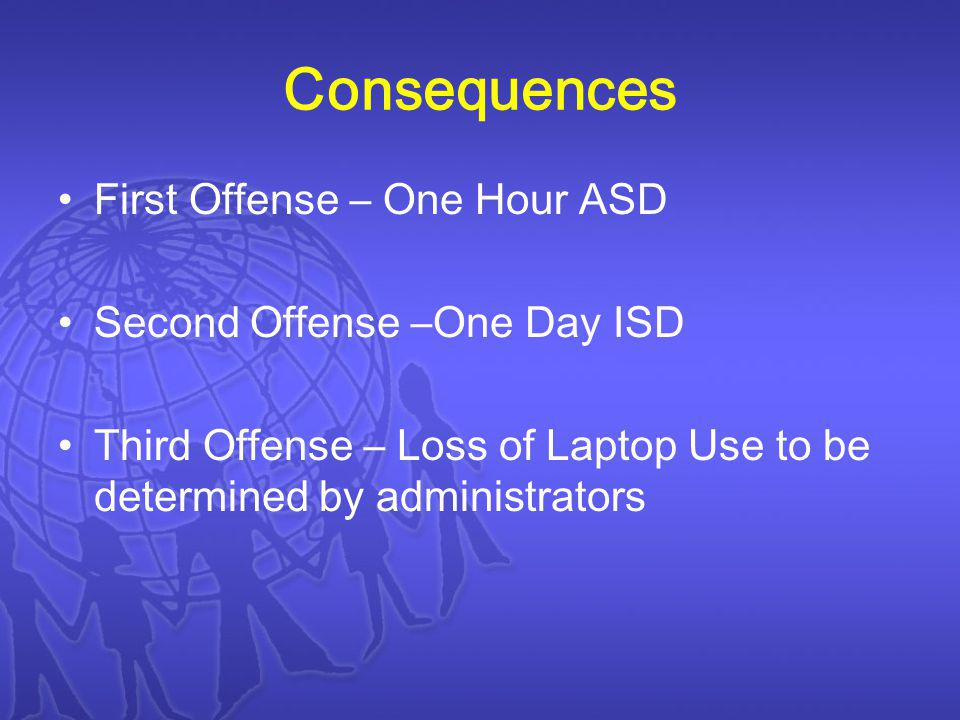Consequences First Offense – One Hour ASD Second Offense –One Day ISD Third Offense – Loss of Laptop Use to be determined by administrators