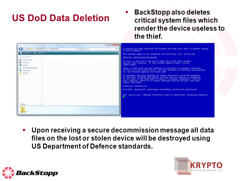 US DoD Data Deletion Upon receiving a secure decommission message all data files on the lost or stolen device will be destroyed using US Department of