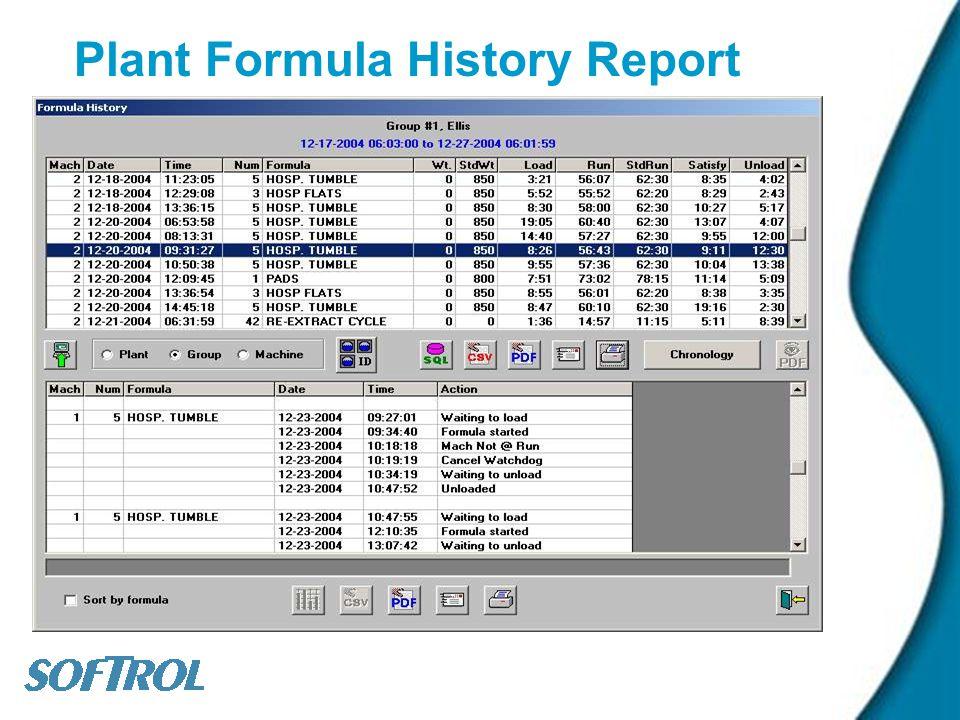Plant Formula History Report