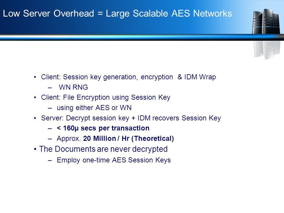 Low Server Overhead = Large Scalable AES Networks Client: Session key generation, encryption & IDM Wrap – WN RNG Client: File Encryption using Session