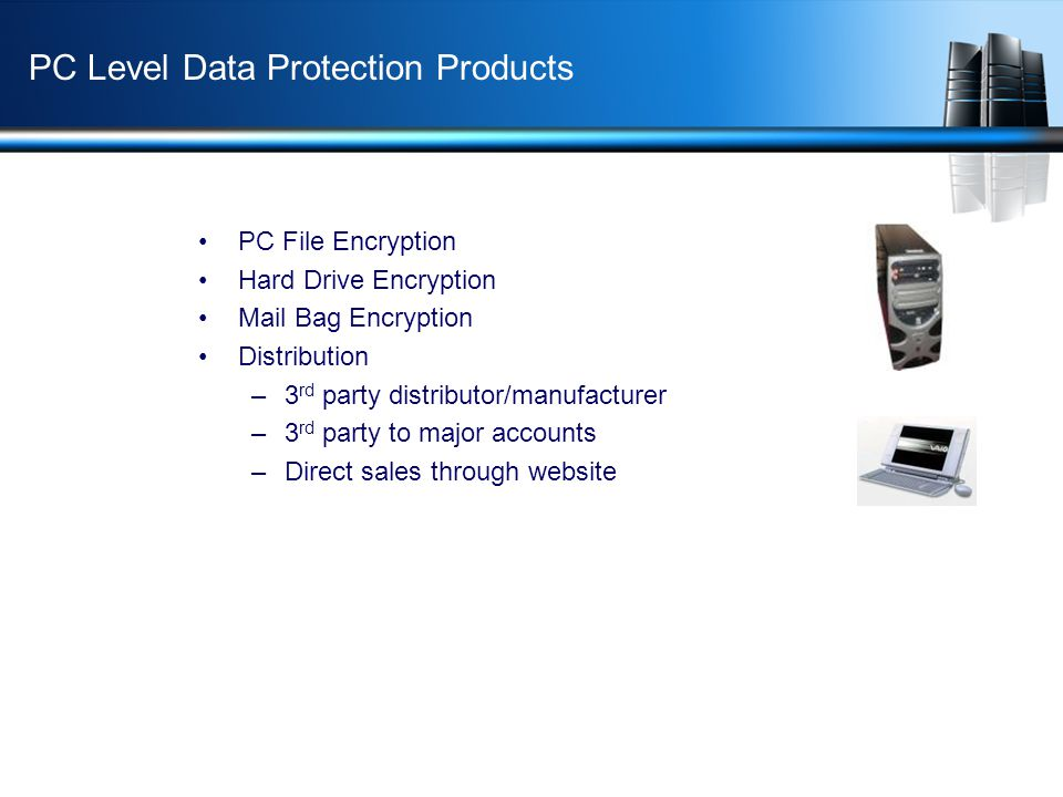 PC Level Data Protection Products PC File Encryption Hard Drive Encryption Mail Bag Encryption Distribution –3 rd party distributor/manufacturer –3 rd