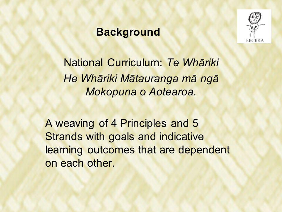 Background National Curriculum: Te Whāriki He Whāriki Mātauranga mā ngā Mokopuna o Aotearoa.