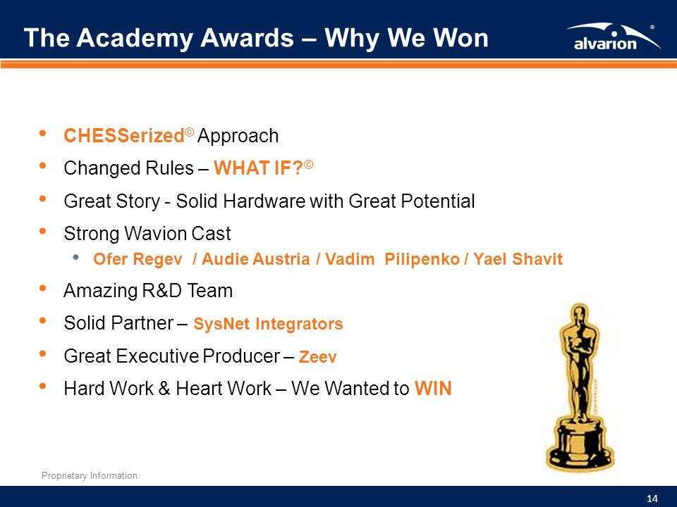 Proprietary Information. The Academy Awards – Why We Won CHESSerized © Approach Changed Rules – WHAT IF? © Great Story - Solid Hardware with Great Pot