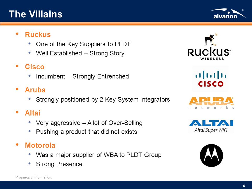 Proprietary Information. The Villains Ruckus One of the Key Suppliers to PLDT Well Established – Strong Story Cisco Incumbent – Strongly Entrenched Ar