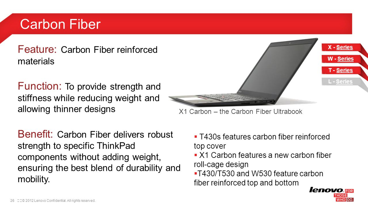 26© 2012 Lenovo Confidential. All rights reserved. Carbon Fiber Feature: Carbon Fiber reinforced materials Function: To provide strength and stiffne