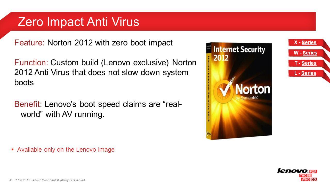 41© 2012 Lenovo Confidential. All rights reserved. Zero Impact Anti Virus Feature: Norton 2012 with zero boot impact Function: Custom build (Lenovo