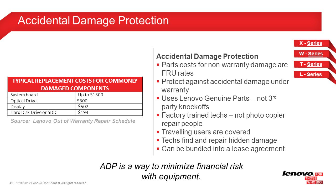 42© 2012 Lenovo Confidential. All rights reserved. Accidental Damage Protection Parts costs for non warranty damage are FRU rates Protect against ac