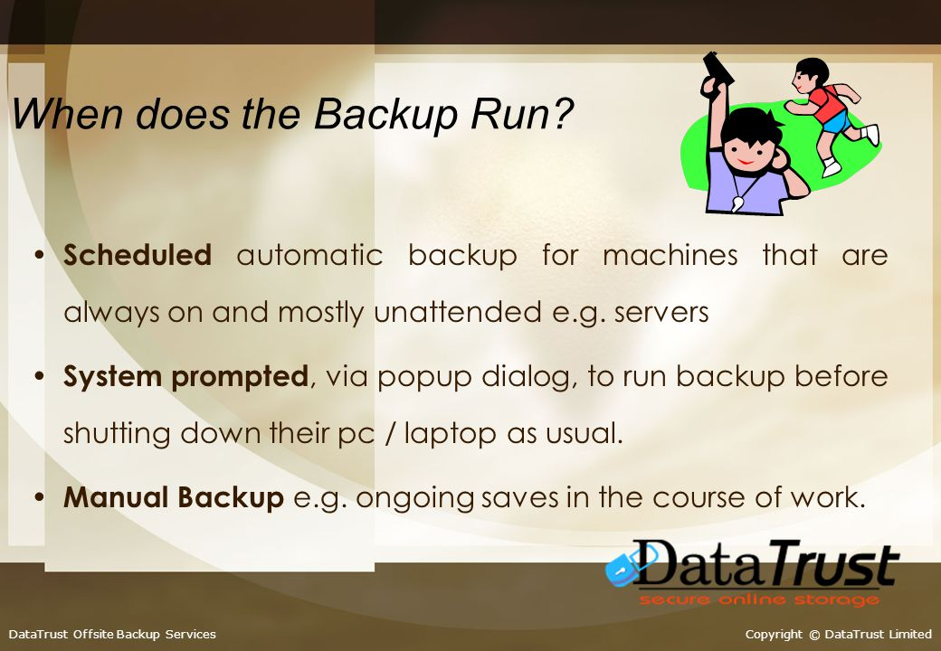 Five steps to your peace of mind…… 1: WAN-Optimised-Backup prepared using our patented compression technology….. 2: Files are encrypted to military st