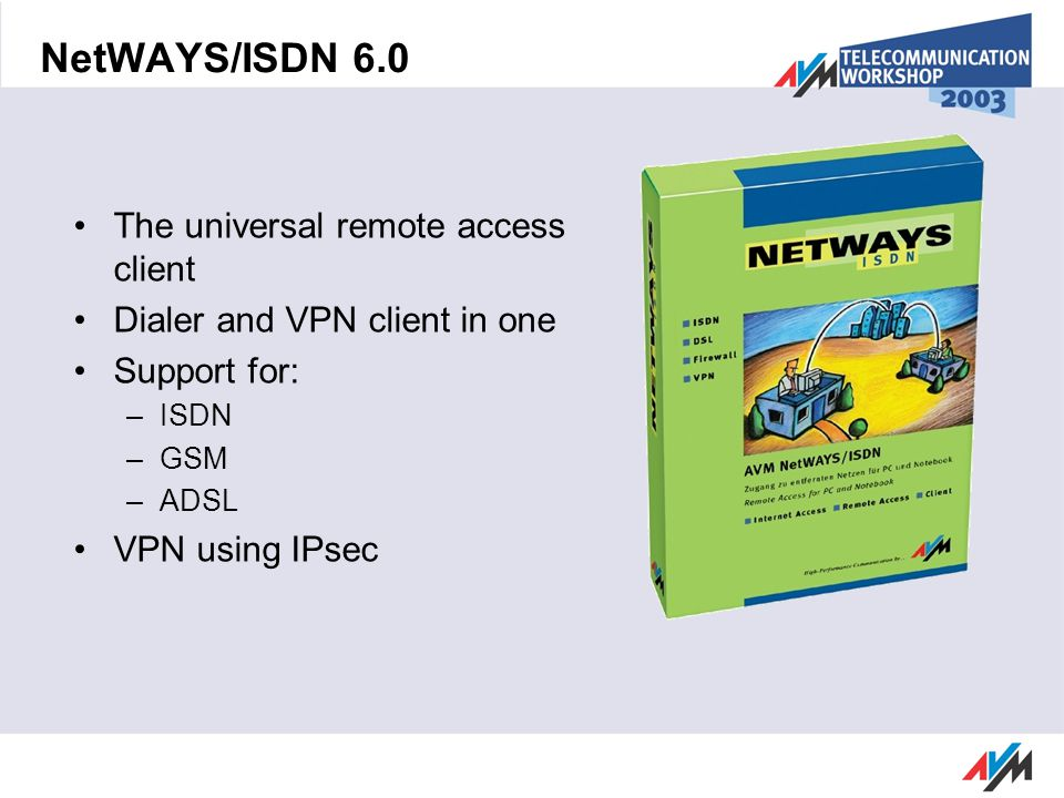 NetWAYS/ISDN 6.0 The universal remote access client Dialer and VPN client in one Support for: –ISDN –GSM –ADSL VPN using IPsec