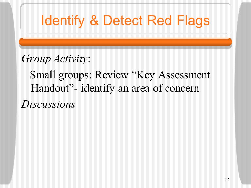 12 Identify & Detect Red Flags Group Activity: Small groups: Review Key Assessment Handout- identify an area of concern Discussions