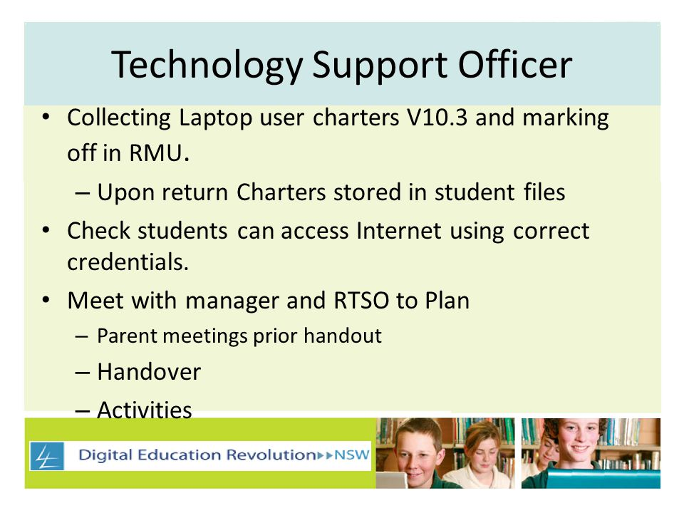 Technology Support Officer Collecting Laptop user charters V10.3 and marking off in RMU.