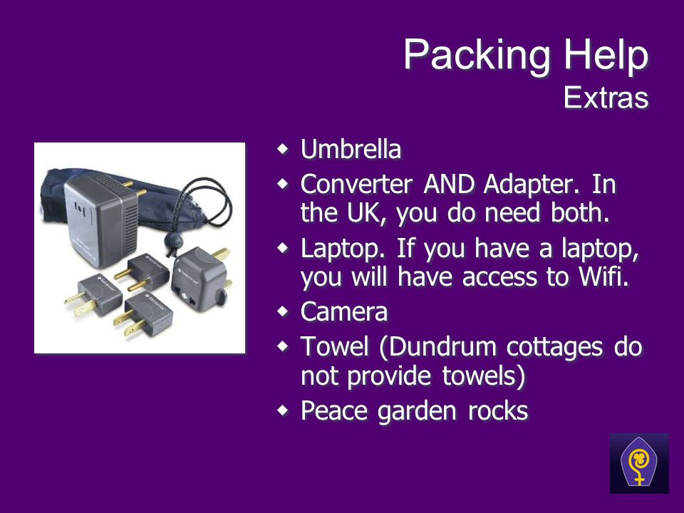 Packing Help Extras Umbrella Converter AND Adapter.