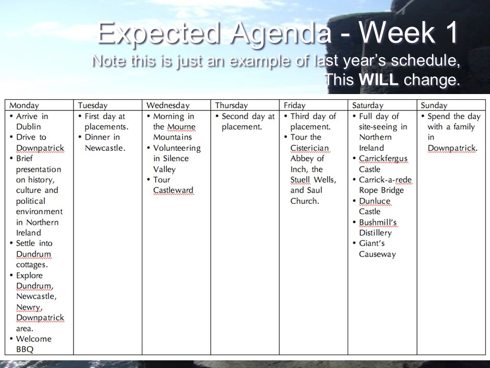 Expected Agenda - Week 1 Note this is just an example of last years schedule, This WILL change.