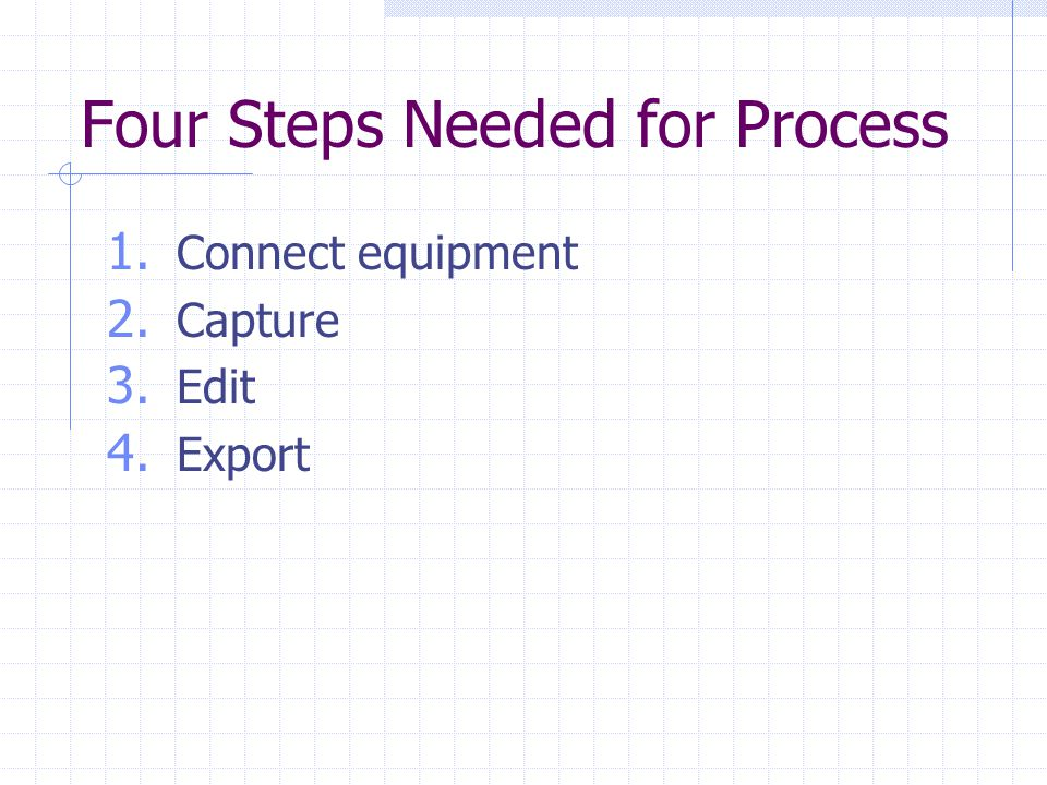 Four Steps Needed for Process 1. Connect equipment 2. Capture 3. Edit 4. Export