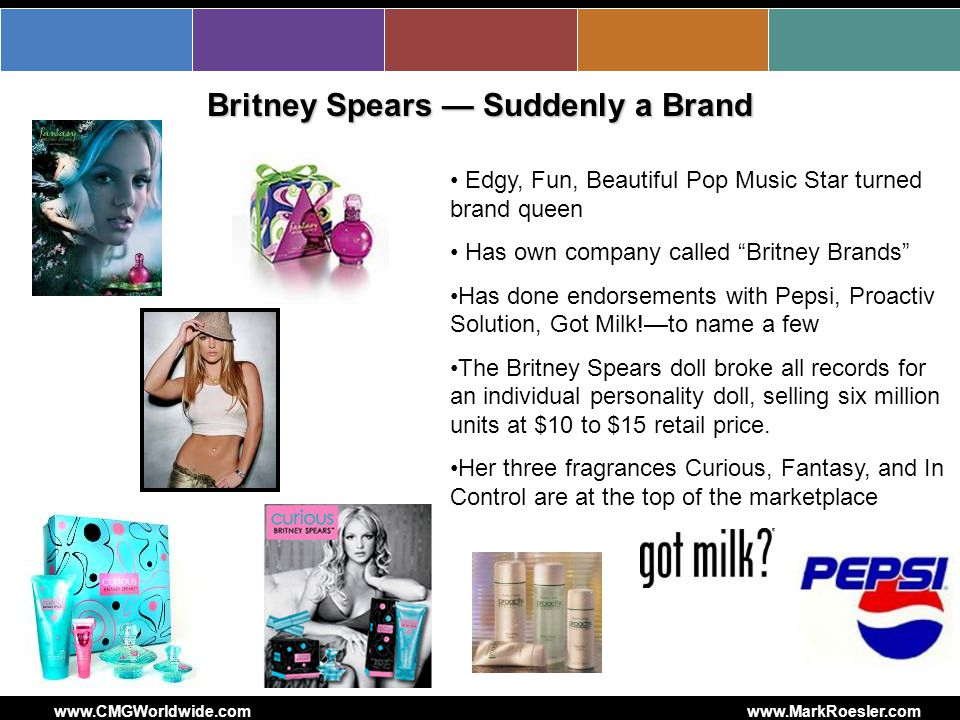 www.CMGWorldwide.comwww.MarkRoesler.com Britney Spears Suddenly a Brand Edgy, Fun, Beautiful Pop Music Star turned brand queen Has own company called Britney Brands Has done endorsements with Pepsi, Proactiv Solution, Got Milk!to name a few The Britney Spears doll broke all records for an individual personality doll, selling six million units at $10 to $15 retail price.