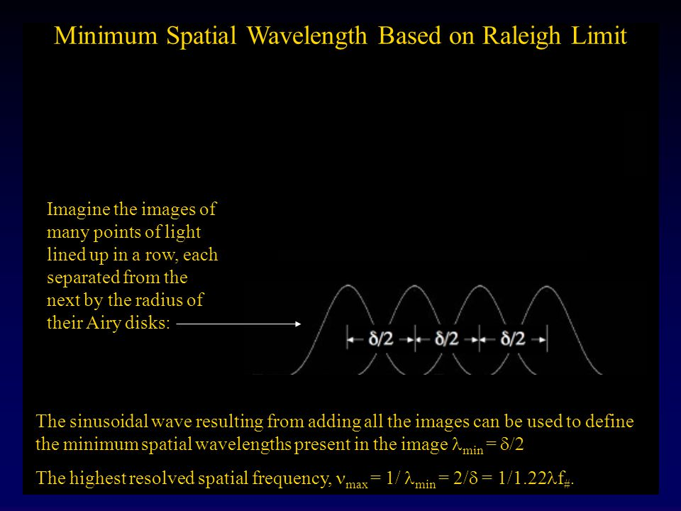 Raleigh Limit for Resolution Two points of light separated by the radius of their Airy disks can just be perceived as two points. How can we convert t
