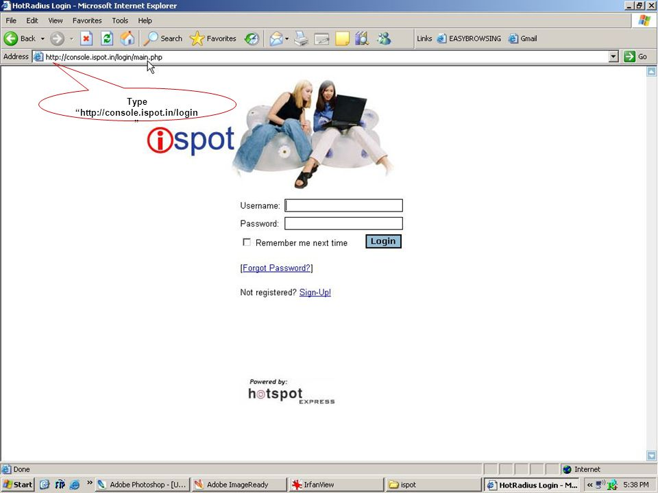 Type http://console.ispot.in/login
