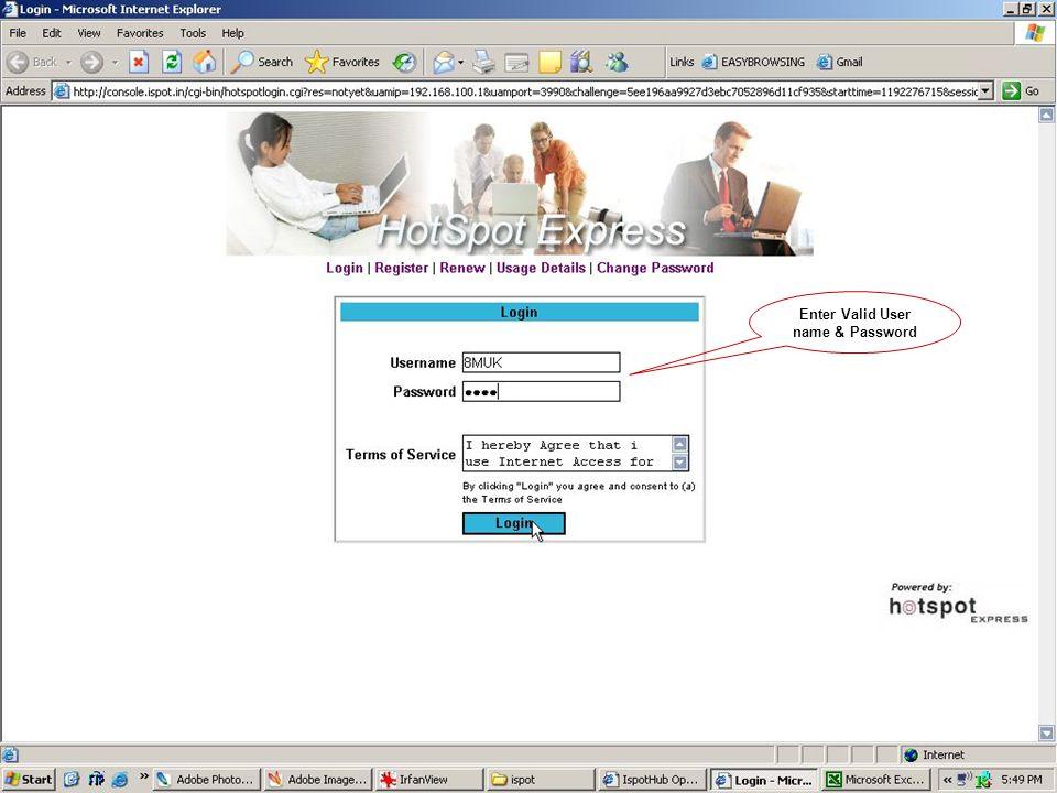 Enter Valid User name & Password