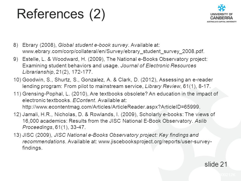 CRICOS #00212K References (2) 8)Ebrary (2008), Global student e-book survey. Available at: www.ebrary.com/corp/collateral/en/Survey/ebrary_student_sur