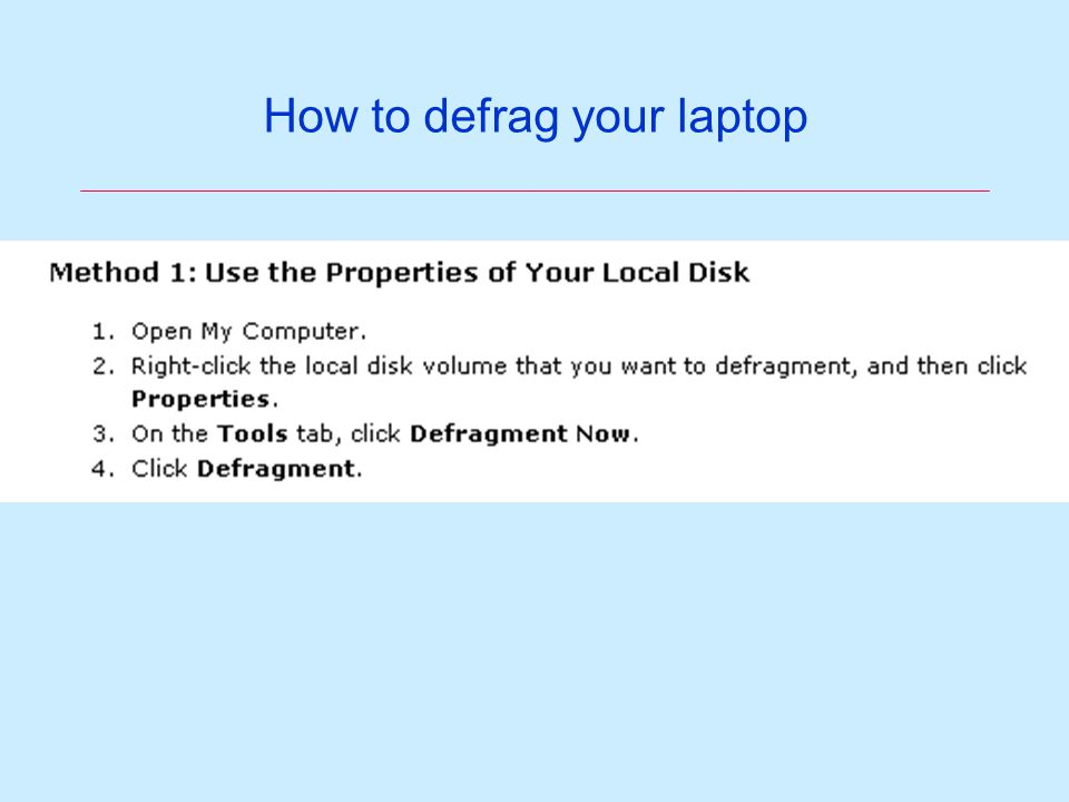 How to defrag your laptop