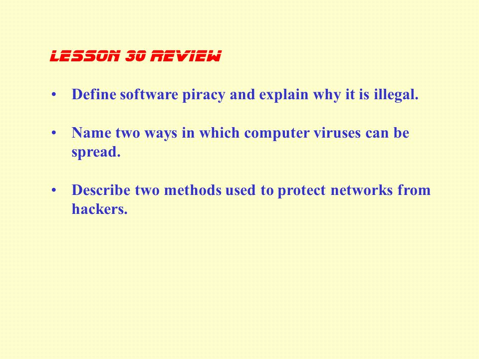 Define software piracy and explain why it is illegal.