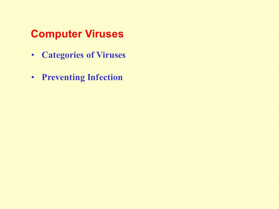 Categories of Viruses Preventing Infection Computer Viruses