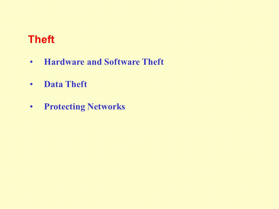 Theft Hardware and Software Theft Data Theft Protecting Networks