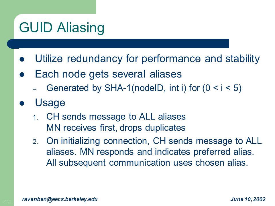 ZXL June 10, 2002ravenben@eecs.berkeley.edu GUID Aliasing Utilize redundancy for performance and stability Each node gets several aliases – Generated