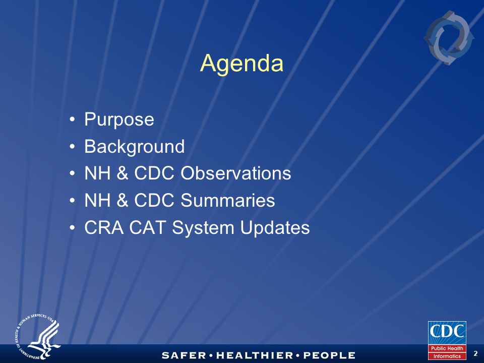 TM 2 Agenda Purpose Background NH & CDC Observations NH & CDC Summaries CRA CAT System Updates