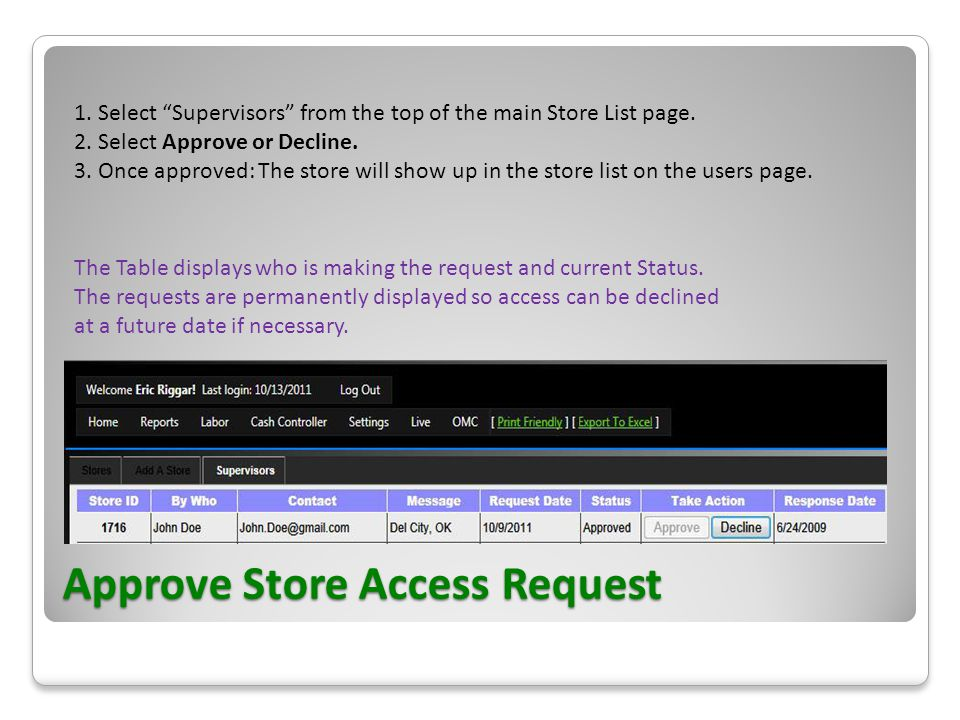 Approve Store Access Request 1. Select Supervisors from the top of the main Store List page.