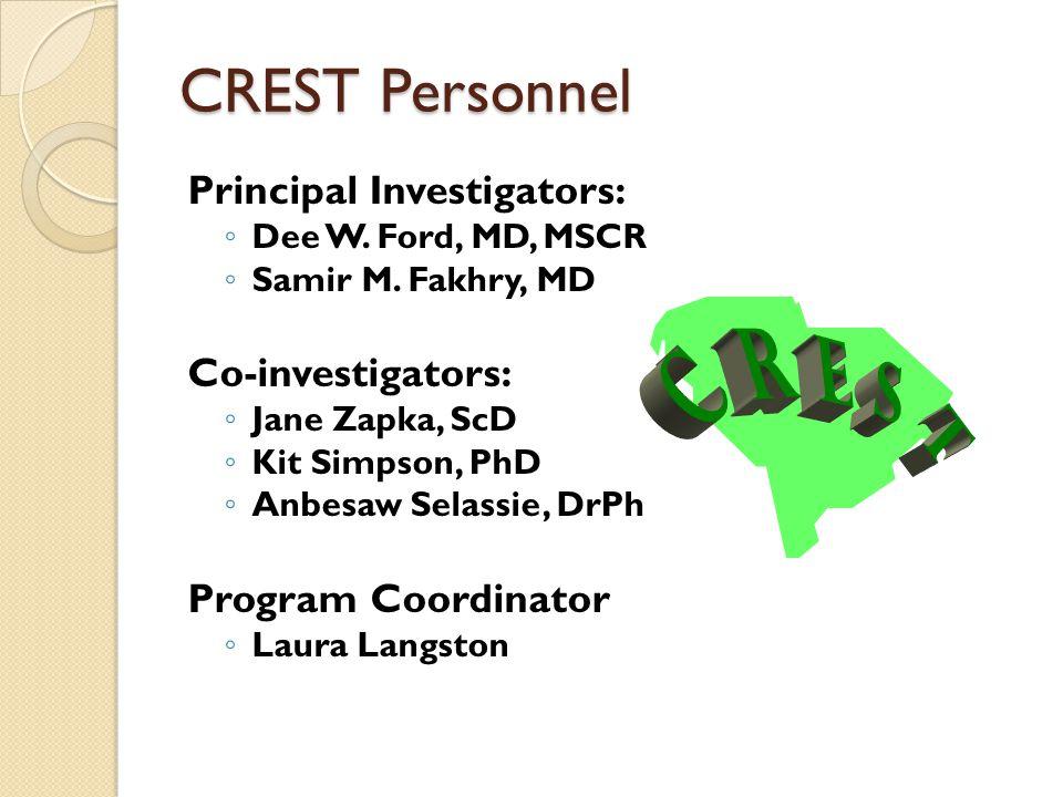 CREST Personnel Principal Investigators: Dee W. Ford, MD, MSCR Samir M. Fakhry, MD Co-investigators: Jane Zapka, ScD Kit Simpson, PhD Anbesaw Selassie