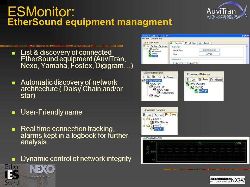 ESMonitor: EtherSound equipment managment List & discovery of connected EtherSound equipment (AuviTran, Nexo, Yamaha, Fostex, Digigram…) Automatic dis