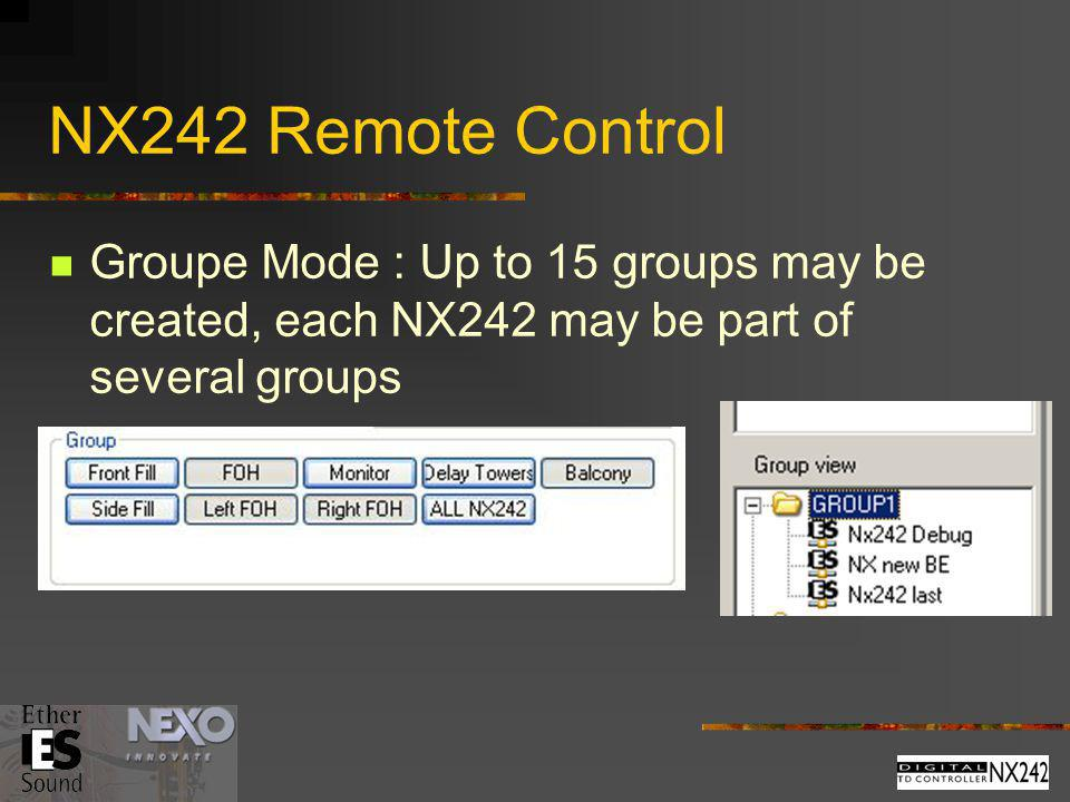 NX242 Remote Control Groupe Mode : Up to 15 groups may be created, each NX242 may be part of several groups