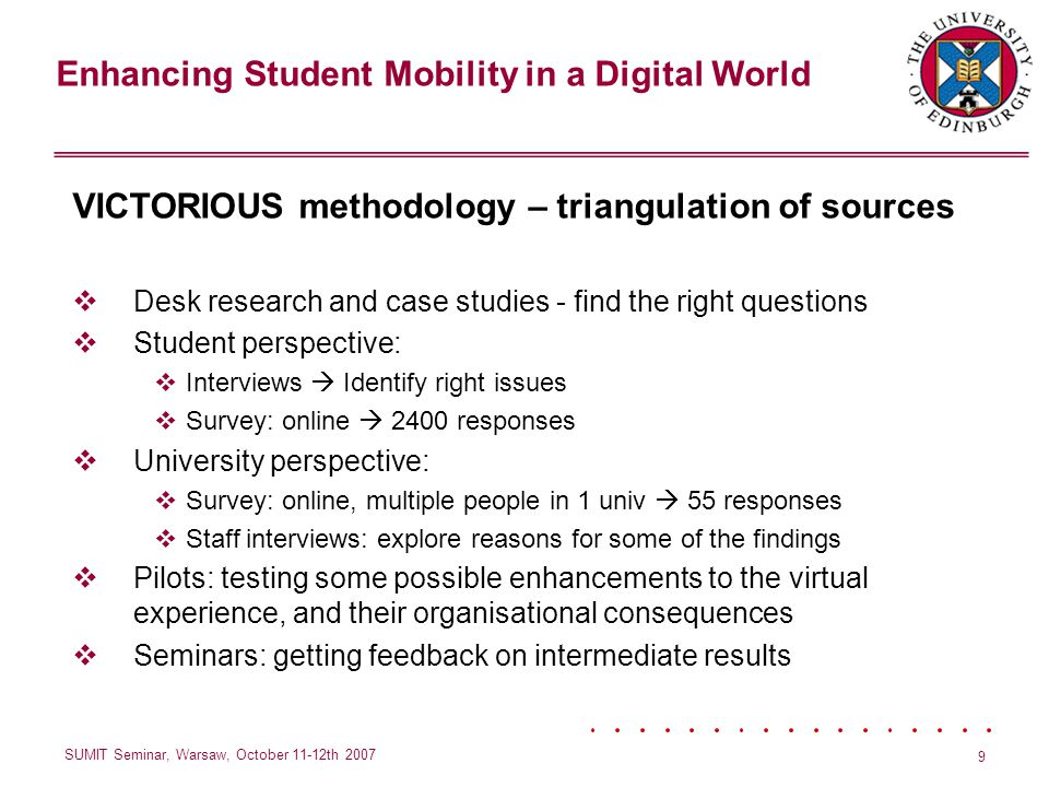 Enhancing Student Mobility in a Digital World SUMIT Seminar, Warsaw, October 11-12th 2007 9 VICTORIOUS methodology – triangulation of sources Desk research and case studies - find the right questions Student perspective: Interviews Identify right issues Survey: online 2400 responses University perspective: Survey: online, multiple people in 1 univ 55 responses Staff interviews: explore reasons for some of the findings Pilots: testing some possible enhancements to the virtual experience, and their organisational consequences Seminars: getting feedback on intermediate results